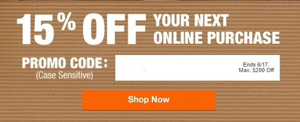 Home Depot 15 Off Coupon Online Purchase Expires 6/17 Save Up To 200 - $44.00