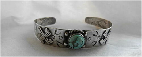 c1930 Native American Sterling Turquoise Whirling Log Cuff