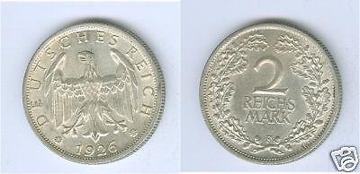 Weimarer Republik  2 Reichsmark 1926 F vorzüglich bis stempelglanz