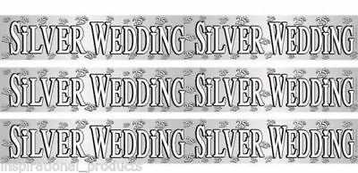 25th Wedding Anniversary SILVER ANNIVERSARY Holographic Foil Party Banner 9ft (Silver Wedding Anniversary Banners)