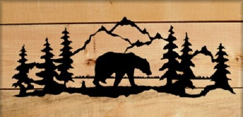 PERSONALIZED BEAR BLACK SIHLOUETTE WALL HANGING