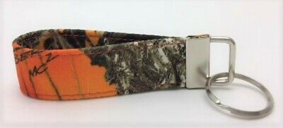 Blaze Orange Camouflage True Timber Key Chain Ring Fob Handmade Custom Designer