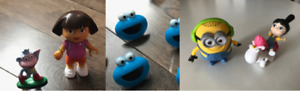 Figurines Dora, bagues Cookie Monster, Minions