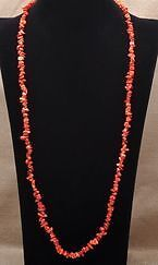 New- Red Sea Coral Gemstone Chip Necklace.