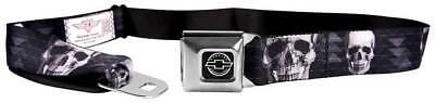 Seatbelt Men Canvas Web Military Chevrolet Skull Face Chevron Black Grays White