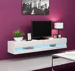 Floating TVs stand white high gloss