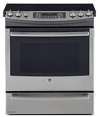 Cuisinière électrique GE 30 po, encastrable, Autonettoyant, Convection, Tiroir de cuisson,Couleur Acier Inox, (SKU :1103