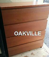 HIGH DRESSER Oakville 32X19X40 Tall boy Chest of 4 Drawers Modern Waterfall Design Sturdy Brown Clothes storage Bedroom