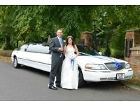 wedding stretch limousines for hire, ribbons and bubbbly included. small limo also available