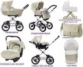 Silver Cross Complete Travel System, Neutral Cream, Good Condition, OIRO £175