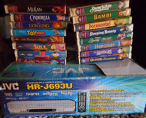 16 Disney Movies, VCR included (never used)