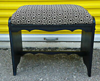 Refurbished vintage bench, new fabric, fresh paint (delivery)