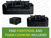 3 & 2 Seater Dylan Crush Velvet Sofa with free matching footstool & free delivery.
