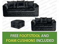 NEW 3 + 2 BLACK CRUSHED VELVET-SOFA SET INCLUDES FREE DELIVERY & FREE MATCHING STOOL FOR £289.99
