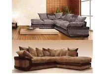 **FOOTSTOOL INCLUDED** BRAND NEW LUSH JUMBO CORD FABRIC CORNER SUITES IN BLACKGREY, BROWNBEIGE ....