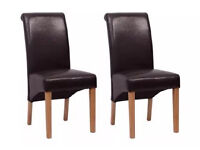Set of 4 Black Faux Leather Roll Top Dining Chairs New