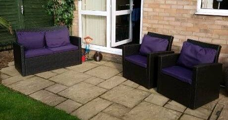 Rattan setin Halfway, South YorkshireGumtree - Immaculate rattan set. 2 seater 2 single chairs...table and purple cushions