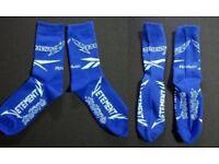 New unworn Vetements White Blue Reebok Socks Heavy Metal Demna Gvasalia