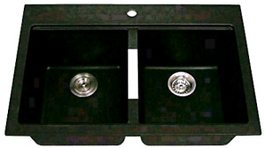 Kraus 33 1/2 inch Dual Mount 50/50 Double Bowl Kitchen Sink