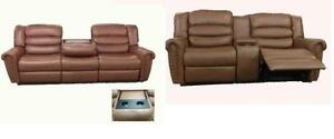 3 PC AIR LEATHER RECLINER SOFA SET W/ CUP HOLDER $1899
