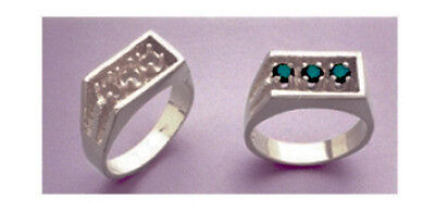 (3) 3.5mm Round Accented Ster Silver Gent's Pre-notched Ring Setting (size 9-11)