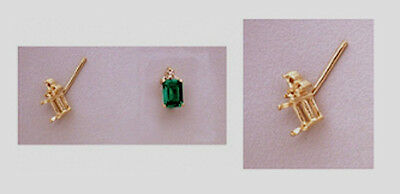 Two 6x4mm Emerald Triple Accented 14kt Yellow Gold Earrin...
