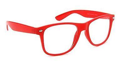 - CLASSIC 80s RETRO VINTAGE WAYFARER RED CLEAR LENS SHADES GLASSES EYEWEAR