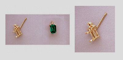 (Two 6x4mm Emerald Triple Accented 14kt Yellow Gold Earring Settings)