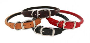Auburn-Leathercrafters-QUALITY-Rolled-Round-LEATHER-Dog-Collars-GREAT-COLORS