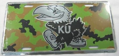 University Of Kansas Metal License Plate Camouflage Ku Jayhawks Sign New L482