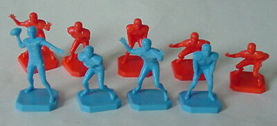 Vintage 1967 B.H. Neiden Red & Blue Plastic Toy Football Player Figures Lot of 9