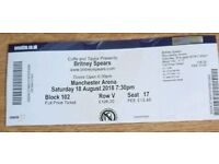 Britney Spears Ticket Manchester Arena, Saturday 18th August