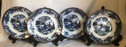 Antique Timor K&G Luneville France Oriental Flow Blue Set of 4 Plates