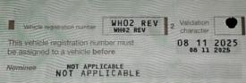 WHO 2 REV Private Registration Plate Ferrari Lamborghini Porsche