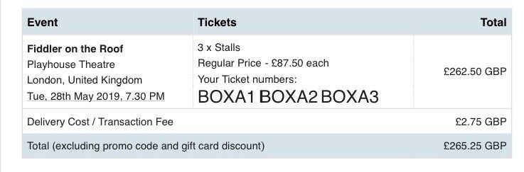 FIDDLER ON THE ROOF, X3 TKTS, 28TH MAY, BOX A1, A2, A3 £87 50, LONDON | in  Enfield, London | Gumtree
