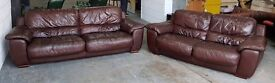RRP £2000 Brown Thick Leather HUGE 3&2 Seater Designer Sofas.WE DELIVER