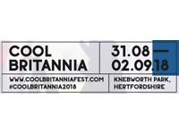 2 x Cool Britannia weekend tickets for sale - Knebworth Park Friday 31st Aug - Sunday 2nd Sept.