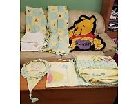 Winnie the Pooh curtains (unlined), cot bumper, large blanket, lampshade, small rug + roo blanket