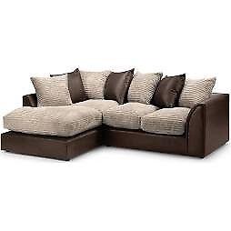 Mink and brown corner sofa