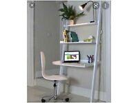 White leaning ladder desk