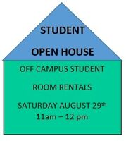 STUDENT - Open house Saturday August 29th 11am-2 pm