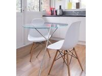 Glass and chrome round small dining table