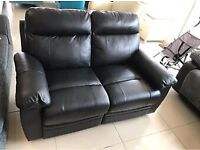 Brand New Black Top Grain Leather 2 Seater Electric Recliner Sofa