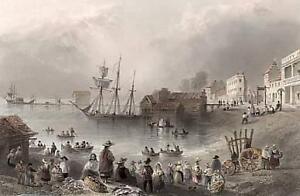 """Fish Market Toronto"" - 1841 Engraving by Bartlett"