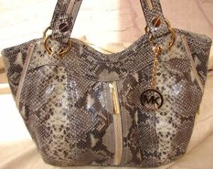 Mk michael kors python moxley handbag bag purse dark sand