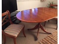 Wooden Dining room table and 2 chairs