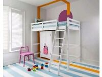 Brand new children / teenagers room high sleeper single bunk bed space saver in white