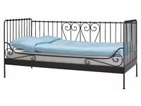 IKEA Black Metal Single Day Bed - Mattress Included