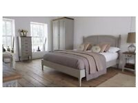 Mandalay bed frame, mattress, chest of drawers and bedside table