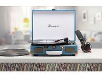 Brand new retro portable briefcase record player/ turntable with bluetooth speakers (boxed) £25